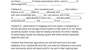 FFA Creed with blanks. Can be used when first introducing the ...