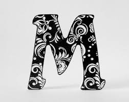 fancy letter m wood block lettering wall lettering letter art wedding