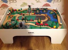 brio wooden train table track and trains with accessories