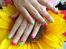 Eye Candy Nails & Training - Full set of acrylic nails with bright ...