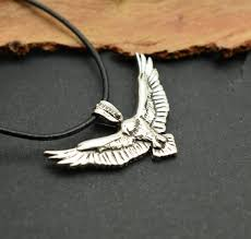 sterling silver eagle necklace flying
