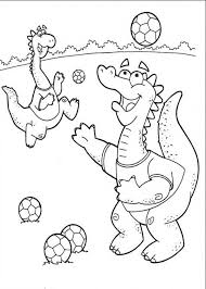 Small Picture Little Dinosaurs Playing Soccer Coloring Page Little Dinosaurs