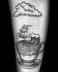 coffee tattoo flash. Contemporary Tattoo Cool Male Coffee Cup Sailing Ship With Waves Inner Forearm Tattoo Designs In Flash T