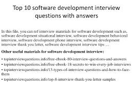 Interview Question Examples Top 10 Software Development Interview Questions With Answers