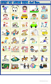 Verb Action Everyday Action Verbs Test English Esl Worksheets