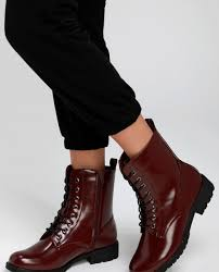 bellah oxblood patent lace up combat high heel boots