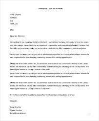 Job Recommendation Letter Sample For A Friend Sample Letters Of Recommendation For A Job 9 Examples In