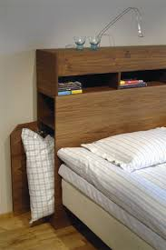 plywood masculine headboard with storage compartments