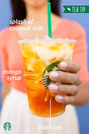 ask your starbucks barista to add a splash of creamy coconut milk to your teavana iced mango black tea lemonade and enjoy this refreshing
