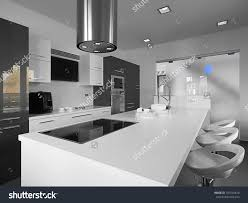 White Tile Floor Kitchen Modern Kitchen Gray Tile Floor White Stock Photo 107540618