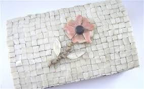 vintage shell box seashell box mother of pearl box peach c box flower seashell jewelry box vintage 70s shell case seashell trinket box