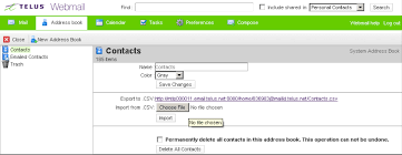Telus Webmail Help Manage Your Address Books