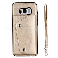 protective pu leather wallet phone case bag with lanyard for samsung galaxy s8 plus gold free dealextreme