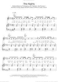 Avicii - The Nights sheet music for voice, piano or guitar [PDF]