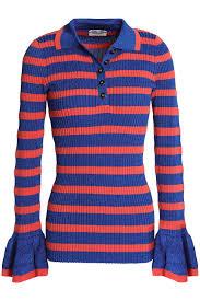 Metallic Striped Ribbed Knit Sweater