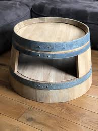 wine barrel coffee table with inlay