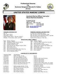 Professional Resume GySgt Caldas AMOI Custom Marine Corps Resume