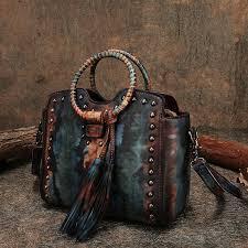 Retro Lady Handbag <b>Leather</b> Shoulder Sling Bags <b>Handmade</b> ...