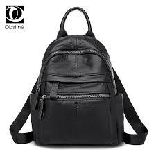 genuine leather backpacks women luxury soft real cow backpack for girls black fashion bagpack female designer back pack