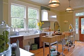 view in gallery two custom built moveable islands in the kitchen blend the vintage with the modern