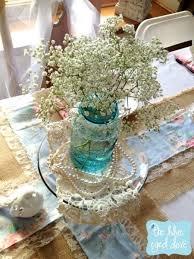 Blue Mason Jars Wedding Decor vintage pearls baby's breath and blue mason jar wedding decor 16