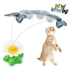 new arrival cat toy electric rotating flower erfly steel wire cat teaser pet toy lively