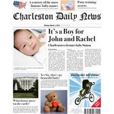 Baby Boy Birth Announcement Fake Newspaper Page My Little
