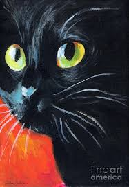 black cat painting black cat painting portrait by svetlana novikova