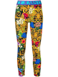 <b>Versace Jeans Couture Women's</b> Leggings Tropical Baroque In Blue