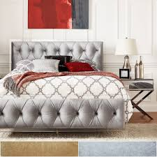 Anya Queen-size Velvet Button Tufted Acrylic Headboard and Bed by iNSPIRE Q  Bold - Free Shipping Today - Overstock.com - 20994614