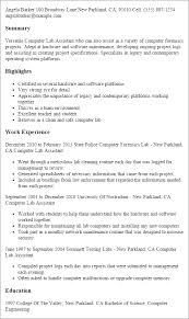 Resume Templates: Computer Lab Assistant
