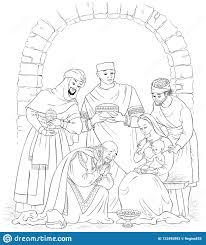 Christian Christmas Nativity Scene Coloring Page Jesus Mary