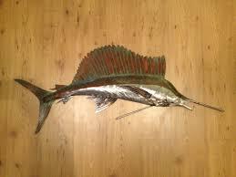 sailfish 48in metal wall art fish sculpture handmade beach coastal tropical ocean