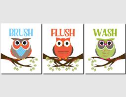 Owl Bathroom Art Kids Bathroom Art Owl Theme Childrens Bath Wash ...