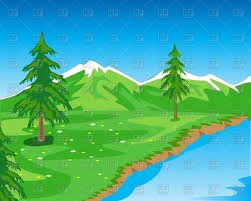 Beautiful Mountain Landscape With Seashore Free Vector Image