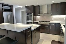 kitchen with dark cabinets modern dark cabinet and white counter kitchen with porcelain tile floors dark kitchen cabinets with dark hardwood floors