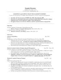 Logistics Management Resume Resume Format For Logistics Manager Airexpresscarrier Com