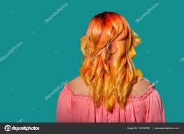 Krásné Ombre Oranžové červené Vlasy žena Stock Fotografie