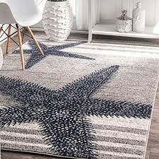 4 x 6 starfish coastal beach ocean decorative stripes grey blue area rug polypropylene