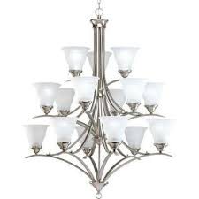 trinity 15 light brushed nickel chandelier with etched glass shade