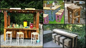 diy pallet patio bar. DIY Pallet Outdoor Bar And Stools Diy Patio A