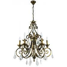 memphis large crystal chandelier 9 light in antique brass