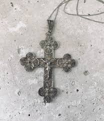 solid silver necklace and antique filigree cross pendant 2nd half of the 19th century