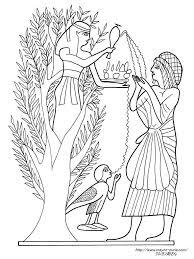 供え物するエジプト絵画の塗り絵の下絵画像