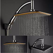 9'' Square Metal Top Rainfall Shower Head Extension Pipe Chrome Bathroom Set