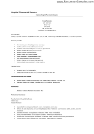 Resume For Hospital Job