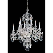traditional crystal polished brass ten light crystal chandelier