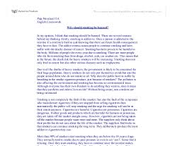 why should smoking be banned gcse english marked by teachers com document image preview