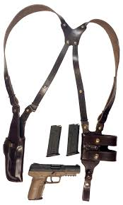 tom s vertical classic custom hand made double thick reinforced leather semi auto shoulder rig open top vertical holster muzzle covered with leather