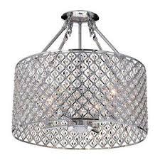 marya 4 light chrome semi flushmount light with crystal beaded drum